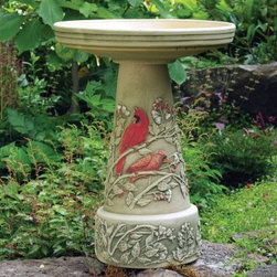 """Burley Clay Hand Painted Summer Cardinal Ceramic Bird Bath - This summer show off your care for your cardinal friends with a . This luxrious bath is made from quality ceramic stoneware and features a hand-painted summer cardinal design. The traditional pedestal design is completed with a glazed interior top that has a bathing depth of 3.5 inches. This style has an interlocking top to the pedestal base. Special Note: The ideal bathing depth is 1.5 to 2 inches. You can simply fill the bath with 1.5 to 2 inches of water or you can take the decorative approach and use polished stones or similar items to raise the water level while keeping the bird safe. About Burley ClayLocated in Roseville Ohio Burley Clay Products has manufactured garden pottery and bird baths since 1933. Proudly designed by craftsmen in a range of styles from traditional to modern and sophisticated Burley's planters are produced using reliable methods spanning from high-tech hydraulics to age-old handmade molding. The key to their quality lies in the fact that at Burley Clay the artisans understand their materials as well as the needs of their customers; the result is high-quality long-lasting planters that stand the tests of time and weather. Burley Clay planters are proudly made in America and sold across the United States and Canada. A Note About Burley Clay's Unique ProcessBurley Clay uses several different production methods to produce their stoneware. From high-tech hydraulic and ram presses to the craftsmanship required in jiggering and casting their production methods differ significantly but share certain features - an emphasis on quality efficiency craftsmanship and attention to detail. Certain production methods require thicker more solid clay while others demand a thinner more liquid consistency. The processes carefully clean and mix the clay blend at a perfect consistency specific to each production method. One of the methods Burley Clay employs today is a rarely found """"""""lost art"""""""" form """
