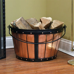 Medieval Copper Firewood Basket with Handle - Antique Copper - This old-fashioned Medieval Copper Firewood Basket with Handle is great for adding a charming look to your home. Keep your firewood close at hand with this copper log holder which features a handle for easy mobility.