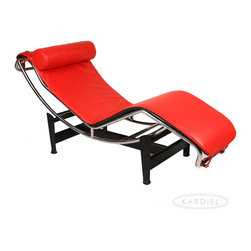 Kardiel Le Corbusier Style LC4 Chaise Lounge, Red Aniline Leather - The Le Corbusier Chaise Lounge (LC4) is the best known and most successful of Le Corbusier's original designs of the 1920's. The chair first exhibited at the Salon D' Automne in 1929. The Le Corbusier Chaise Lounge (LC4) was designed in 1928 with the efforts of not just the individual's name that is attributed to the chair but rather a group effort with much influence from Pierre Jeanneret and Charlotte Perriand. The LC4 was originally commissioned for the furnishing of a single villa in the Ville d' Avray, a commune in the western suburbs of Paris, France. The LC4 Chaise Lounge,  AKA the 'relaxing machine,' is a lounge that mirrors the body's natural curves while appearing to float above its supports. The frame easily positions on the base using gravity and the users own weight to create various reclining positions. Kardiel's premium reproduction of the Le Corbusier LC-4 Adjustable Chaise Lounge boasts exacting detail to the original. Review the full list of high quality features from