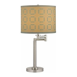 Design Classics Lighting - Pauz Swing Arm Table Lamp with Tan and Blue Lamp Shade - 1902-09 SH9545 - Contemporary / modern satin nickel 1-light table lamp. Swing arm has a maximum 9-inch extension. Features a tan drum shade with blue cube pattern. Takes (1) 100-watt incandescent A19 bulb(s). Bulb(s) sold separately. UL listed. Dry location rated.