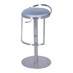 Chintaly - Contemporary Adjustable Height Swivel Stool w - A brilliant combination of dazzling stainless steel and  silver color vinyl upholstery gives this amazing adjustable stool real pizzazz.  Completely versatile, it easily adjusts from counter to bar height with one simple touch.  With a thick padded seat and integrated footrest for added comfort, this incredibly modern stool is as practical as it is handsome. Silver PVC upholstery. Made from Stainless Steel. Minimal assembly required. Seat: 22.5 - 32 in. H. Overall: 16.5 in. W x 16.5 in. L x 34 in. H