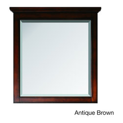 None - Avanity Tropica 31-inch Mirror in Antique Brown Finish - The Tropica 31x32-inch poplar wood framed mirror features either an antique brown or antique white finish with a warm tradional design. It matches the Tropica vanity for a coordinated look and includes mounting hardware that makes leveling easy.