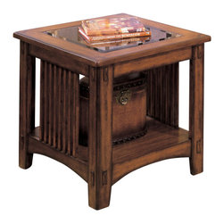 Standard Furniture - Standard Furniture Mission Hills 28 Inch Glass Top End Table - 28 Inch Glass Top End Table belongs to Mission Hills Collection by Standard Furniture The Mission Hills collection features a traditional American look, inspired by the Arts and Crafts movement of the early 20th century.  End Table (1)