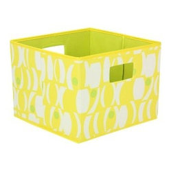 Household Essentials Open Storage Bin - Geo Print - Yellow with Lime