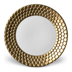 L'Objet - Porcelain Dinner Plate, Gold - Greco-Roman inspired dinnerware with a dramatic border of raised scales.  Hand gilded with three layers of 24K Gold or Platinum or solid white.  Limoges porcelain.