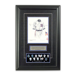"Heritage Sports Art - Original art of the MLB 1917 Chicago White Sox uniform - This beautifully framed piece features an original piece of watercolor artwork glass-framed in an attractive two inch wide black resin frame with a double mat. The outer dimensions of the framed piece are approximately 17"" wide x 24.5"" high, although the exact size will vary according to the size of the original piece of art. At the core of the framed piece is the actual piece of original artwork as painted by the artist on textured 100% rag, water-marked watercolor paper. In many cases the original artwork has handwritten notes in pencil from the artist. Simply put, this is beautiful, one-of-a-kind artwork. The outer mat is a rich textured black acid-free mat with a decorative inset white v-groove, while the inner mat is a complimentary colored acid-free mat reflecting one of the team's primary colors. The image of this framed piece shows the mat color that we use (Medium Blue). Beneath the artwork is a silver plate with black text describing the original artwork. The text for this piece will read: This original, one-of-a-kind watercolor painting of the 1917 Chicago White Sox uniform is the original artwork that was used in the creation of this Chicago White Sox uniform evolution print and tens of thousands of other Chicago White Sox products that have been sold across North America. This original piece of art was painted by artist Bill Band for Maple Leaf Productions Ltd.  1917 was a World Series winning season for the Chicago White Sox. Beneath the silver plate is a 3"" x 9"" reproduction of a well known, best-selling print that celebrates the history of the team. The print beautifully illustrates the chronological evolution of the team's uniform and shows you how the original art was used in the creation of this print. If you look closely, you will see that the print features the actual artwork being offered for sale. The piece is framed with an extremely high quality framing glass. We have used this glass style for many years with excellent results. We package every piece very carefully in a double layer of bubble wrap and a rigid double-wall cardboard package to avoid breakage at any point during the shipping process, but if damage does occur, we will gladly repair, replace or refund. Please note that all of our products come with a 90 day 100% satisfaction guarantee. Each framed piece also comes with a two page letter signed by Scott Sillcox describing the history behind the art. If there was an extra-special story about your piece of art, that story will be included in the letter. When you receive your framed piece, you should find the letter lightly attached to the front of the framed piece. If you have any questions, at any time, about the actual artwork or about any of the artist's handwritten notes on the artwork, I would love to tell you about them. After placing your order, please click the ""Contact Seller"" button to message me and I will tell you everything I can about your original piece of art. The artists and I spent well over ten years of our lives creating these pieces of original artwork, and in many cases there are stories I can tell you about your actual piece of artwork that might add an extra element of interest in your one-of-a-kind purchase."