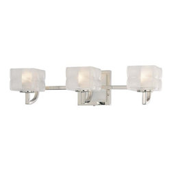 George Kovacs Lighting - Three-Light Bathroom Vanity Light with Pillow Glass Shades - P5453-613 - Contemporary / modern polished nickel 3-light bathroom light. Takes (3) 40-watt xenon G9 bulb(s). Bulb(s) sold separately. Dry location rated.