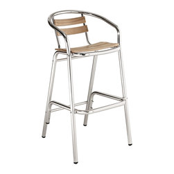 LexMod - Perch Modern Indoor/Outdoor Bar Stool - Define your homestead with this charming Bar Stool full of vibrancy. Sip sweet solace as you sit admirably amidst your outdoor pub area. Complete with willow screen slats and a matte aluminum finish, let Perch's vantage point take you to a protected place of prosper.