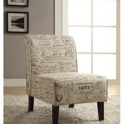 Linon Coco Script Linen Fabric Accent Chair -