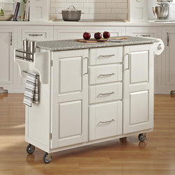 "Home Styles - Kitchen Cart with Granite Top - This kitchen island cart features solid wood construction, heavy duty casters, concealed storage, and so much more! Features: -Grey granite top.-MDF insert panels for increased strength.-Four storage drawers with metal drawer suspensions.-Enclosed storage inside cabinet doors.-Brushed chrome pulls.-Adjustable condiment or spice caddy.-Adjustable towel bar.-Heavy duty casters, with front casters locking.-Solid wood construction.-Product Type: Kitchen Cart.-Collection: Create-a-Cart.-Counter Finish: Granite top.-Hardware Finish: Brushed steel.-Distressed: No.-Powder Coated Finish: No.-Gloss Finish: No.-Base Material: Wood.-Counter Material: Salt and Pepper Granite.-Hardware Material: Brushed steel.-Solid Wood Construction: Yes.-Number of Items Included: 1.-Water Resistant or Waterproof Cushions: No.-Stain Resistant: No.-Warp Resistant: No.-Exterior Shelves: No.-Drawers Included: Yes -Number of Drawers: 4.-Push Through Drawer: No..-Cabinets Included: Yes -Number of Cabinets : 2.-Double Sided Cabinet: No.-Adjustable Interior Shelves: Yes.-Number of Doors: 2.-Locking Doors: No.-Door Handle Design: Linear pulls..-Towel Rack: Yes -Removable Towel Rack: No..-Pot Rack: No.-Spice Rack: Yes .-Cutting Board: No.-Drop Leaf: No.-Drain Groove: No.-Trash Bin Compartment: No.-Stools Included: No.-Casters: Yes -Locking Casters: Yes.-Removable Casters: No..-Wine Rack: No.-Stemware Rack: No.-Cart Handles: No.-Finished Back: Yes.-Commercial Use: No.-Recycled Content: No.-Eco-Friendly: No.-Product Care: Clean with a damp cloth.Specifications: -ISTA 3A Certified: Yes.Dimensions: -Overall Height - Top to Bottom: 35.5"".-Overall Width - Side to Side: 48"".-Overall Depth - Front to Back: 17.75"".-Width Without Side Attachments: 44.5"".-Height Without Casters: 31.75"".-Countertop Thickness: 0.75"".-Countertop Width - Side to Side: 44.5"".-Countertop Depth - Front to Back: 17.75"".-Shelving: -Shelf Width - Side to Side: 12.5"".-Shelf Depth - Front to Back: 12.75""..-Leaf: No.-Drawer: -Drawer Interior Height - Top to Bottom (Small Drawers) : 3"".-Drawer Interior Height - Top to Bottom (Large Drawer) : 8.5"".-Drawer Interior Width - Side to Side: 10.25"".-Drawer Interior Depth - Front to Back: 11.5""..-Cabinet: -Cabinet Interior Height - Top to Bottom: 28.5"".-Cabinet Interior Width - Side to Side: 12.5"".-Cabinet Interior Depth - Front to Back: 12.75""..-Overall Product Weight: 176 lbs.Assembly: -Assembly Required: Yes.-Tools Needed: Phillips screwdriver.-Additional Parts Required: No.Warranty: -Product Warranty: Vendor replaces parts for 30 days."