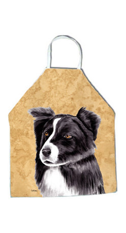 """Caroline's Treasures - Border Collie Apron - Apron, Bib Style, 27""""H x 31""""W; 100% Ultra Spun Poly, White, braided nylon tie straps, sewn cloth neckband. These bib style aprons are not just for cooking - they are also great for cleaning, gardening, art projects, and other activities, too!"""