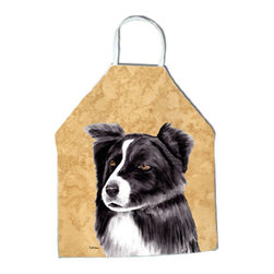 "Caroline's Treasures - Border Collie Apron - Apron, Bib Style, 27""H x 31""W; 100% Ultra Spun Poly, White, braided nylon tie straps, sewn cloth neckband. These bib style aprons are not just for cooking - they are also great for cleaning, gardening, art projects, and other activities, too!"
