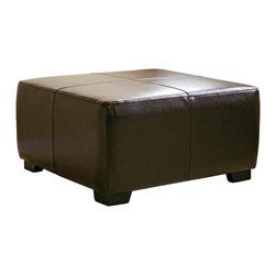 Baxton Studio - Baxton Studio Dark Brown Full Leather Square Ottoman Footstool - This ottoman is a versatile piece useful in any room of your home. This elegant ottoman provides styles which allows you to match your existing leather sofa set.  Frame built to last with sturdy construction consisting of kiln dried hardwood frame, with high density foam padding.  Durable polyurethane coated leather upholstery for longer lasting use and stain resists for easy clean up.  Contemporary clean line design with tapered down base.  Leg constructed with solid rubber wood with veneer finish completes with elegant smooth, clean lines design.  This Ottoman offers up the perfect way to sit back and relax.  The perfect combination of quality craftsmanship with simple and sophisticated designs, that will instantly enhance any room decor.