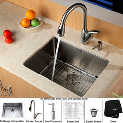"Kraus - Undermount 32"" Kitchen Sink with Kitchen Faucet and Soap Dispenser - Features: -Kitchen sink boasts 16-gauge premium grade T-304 stainless steel construction. -Scratch-resistant commercial-grade premium satin finish. -Padded and Stone Guard undercoated insulation over a rubber pad reduces noise while sink is in use. -0.75"" Radius curved corners for easy cleaning and a stylish look. -Stainless steel bottom grid with protective feet and bumpers, Stainless steel basket strainer and Dish towel are included. -Mounting and installation brackets, cutout template are included. -Soap Dispenser features 100% solid stainless steel construction. -Easy-push, self-priming pump. -Refillable from above. -Holds 14 ounces of liquid. -Faucet features 100% solid stainless steel construction. -Supreme-satin stainless steel finish. -Discoloration and corrosion resistant. -Features dual stainless steel pull-out spray head with an aerated flow or a powerful spray. -Sleek Gooseneck design with pull-down spray head. -Spring-tensioned retractable hose. -Spout swivels 360-degrees. -Contains Sedal drip-free ceramic cartridge. -Hermetically sealed with adjustable temperature and flow rate limitation. -Single-lever water and temperature control. -Single-hole, top-mount installation. -Water pressure tested for industry standard. -Standard US plumbing connections. -2.2 GPM flow rate. -All mounting hardware and hot / cold waterlines are included. -ADA compliant. -Certified and Listed by UPC, cUPC, CSA, IAPMO, ANSI, SCC and NSF. -California AB 1953 compliant. -Limited Lifetime Warranty. Specifications: -Faucet Height: 10.75"" (12.25"" when lever is opened). -Spout Height: 7.5"". -Spout Reach: 8.5"". -Hose Length: 28"". -Soap Dispenser dimensions: 3"" H x 4.5"" D. -Requires 1.25"" hole. -Bowl dimensions: 10"" H x 16"" W x 21"" D. -Overall dimensions: 10"" H x 18"" W x 23"" D."