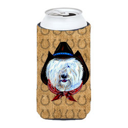 Caroline's Treasures - Old English Sheepdog Dog Country Lucky Horseshoe Tall Boy Koozie Hugger - Old English Sheepdog Dog Country Lucky Horseshoe Tall Boy Koozie Hugger Fits 22 oz. to 24 oz. cans or pint bottles. Great collapsible koozie for Energy Drinks or large Iced Tea beverages. Great to keep track of your beverage and add a bit of flair to a gathering. Match with one of the insulated coolers or coasters for a nice gift pack. Wash the hugger in your dishwasher or clothes washer. Design will not come off.