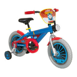 Thomas & Friends - Thomas & Friends 14 in. Boys Thomas Bike Pedal Riding Toy Multicolor - 851496 - Shop for Tricycles and Riding Toys from Hayneedle.com! Here comes Thomas chuffing and puffing through the park with the Thomas & Friends 14 in. Boys Thomas Bike Pedal Riding Toy. Every day is a new adventure with Thomas and your child will delight in this trusty steed with 14 inch wheels. A talking Thomas noisemaker never lets the conversation lag. The frame is custom designed and carefully finished to appeal to the young Thomas enthusiast's sensibilities. A custom racing shield and wheel covers add to the fun while a coaster brake and adjustable training wheels make this bike easy to use for beginners. The frame and fork are covered by the manufacturer with a lifetime warranty.About DynacraftEveryone at Dynacraft is committed to helping families bike smart and bike together. Based in American Canyon California Dynacraft is well known as an importer of affordable high quality bicycles for every member of the family. Dynacraft constantly keeps its eyes on both the future and our customers' ever changing needs. If it's not the latest in innovation and designed to the most exacting standards using top-of-the-line parts it's not Dynacraft.