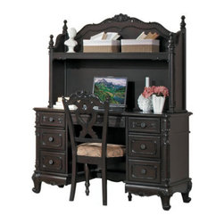Homelegance - Homelegance Cinderella Writing Desk w/ Hutch & Chair in Cherry - The Cinderella Collection is your little girl s dream. The Victorian styling incorporates floral motif hardware  dark cherry finish and traditional carving details that will create the feeling of a room worth of a fairy tale princess.