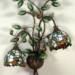 Artistica - Hand Made in Italy - Alba Lamp: Wall Sconce Light: W. Iron/Tiffany Glass - Alba Lamp Collection: