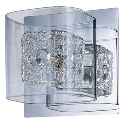ET2 - One Light Wall Sconce - SKU: E22830-18PC - One Light Wall Sconce The Gem Collection`s clear, square-glass cubes float on a Polished Chrome metal frame. Suspended inside the cubes, woven metal cubes sparkle with a crystal gem embedded on the side. The xenon lamps beam crystal clear light to bring the gem to life.