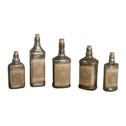 None - Mercury Style Glass Recycled Bottles (Set of 5) - Recycled mercury style glass bottles with artwork adorned to front and cork stoppers. Each set of five will be in the same size range but as bottles are recycled they will be different bottles each time.