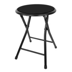 Trademark Home Collection - 18 in. Cushioned Folding Stool - Set of 2 - 12.5 inch Diameter Padded Top. Spring Action Secure Lock . Functional Comfortable Design. Tough Steel Frame . Easy Clean Up with Water and Mild Detergent. 14 in. L x 15 in. W x 18 in. H (5 lbs.). Folds Down to: 12.5 in. L x 29 in. W x 2 in. HHaving some friends over but limited on seating? Looking for an inexpensive way to add seats without taking up a lot of room or wasting money on renting? Well this 18 inch cushioned stool is the way to go!