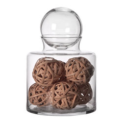 "Home Essentials - Clear Glass Apothecary Jar with Ball Top - This Apothecary Glass Jar can be used in a variety of ways to create unique and fun displays in a number of rooms. The elegant containers could be used in a bathroom for hygiene articles or used on a table, mantel, or counter top for sweets.The Ball Top Cover will keep your cookies and biscuits fresh while showcasing your creativity. * Dimension: 10"" x 6.75"""