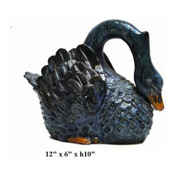 "Blue Glaze Ceramic Swan Decor Figure - Dimensions: 12"" x 6"" x h10"""
