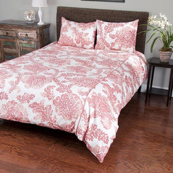 Home Decorators Collection - Marissa Bedding Set - Our Marissa Bedding Set features an exquisite floral pattern in coral and white. Dress up your bed with the warmth and elegance of this set, then add in other items from our collection of Marissa bed linens. Comforters feature 100% cotton satin front and 100% cotton back with polyester fill. Machine washable. Twin set includes: Extra-long twin comforter, 1 standard sham. Comforter will fit dorm room beds. Queen set includes: Queen comforter, 2 standard shams. King set includes: King comforter, 2 king shams.