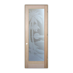 "Sans Soucie Art Glass (door frame material T.M. Cobb) - Interior Glass Door Sans Soucie Art Glass Palm Sunset 3D Private, Natural Unfini - Sans Soucie Art Glass Interior Door with Sandblast Etched Glass Design. GET THE PRIVACY YOU NEED WITHOUT BLOCKING LIGHT, thru beautiful works of etched glass art by Sans Soucie!  THIS GLASS PROVIDES 100% OBSCURITY.  (Photo is View from OUTside the room.)  Door material will be unfinished, ready for paint or stain.  Satin Nickel Hinges. Available in other wood species, hinge finishes and sizes!  As book door or prehung, or even glass only!  3/8"" thick Tempered Safety Glass.  Cleaning is the same as regular clear glass. Use glass cleaner and a soft cloth."