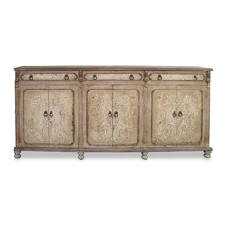 Koenig Collection - Old World Mediterranean Narrow Sideboard Mocha, Budapest Distressed - Old World Mediterranean Narrow Mocha Sideboard