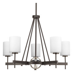 Progress Lighting - Progress Lighting P4706-20 Compass Five-Light Antique Bronze Linear Chandelier W - Find your frame of reference with the Compass collection. Antique Bronze five-light chandelier is distinguished by crisp, linear elements that both contrast and cradle opal glass shades for pleasing illumination. K9 glass ball provides a sophisticated accent to the fixture.