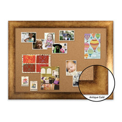 "Corkboard - 44"" x 32"" Framed Cork Board, Antique Gold - Dimensions include frame."