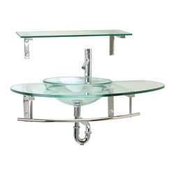 Renovators Supply - Vessel Sinks Clear Helsinki Wall Mount Vessel Sink & Shelf - Wall Mount Glass Vessel Sinks: The Helsinki wall mount tempered glass vessel sink package includes pop-up drain, trap, faucet and glass shelf with all mounting hardware.
