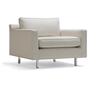 Hunter Chair - Our Hunter chair is long, low, and luxurious with polished-aluminum legs. Generous loose seat and back cushions insure great comfort for a streamlined style.