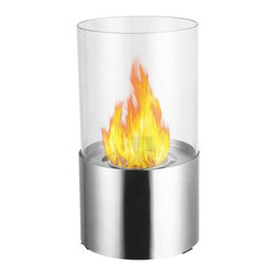 Moda Flame - Lit Table Top Firepit Bio-Ethanol Fireplace in Stainless Steel - The Lit Tabletop Bio Ethanol Fireplace is a stylish personal fireplace. It features a simple yet sleek design of a powder coated black base finish and a glass rounded panel that surrounds the flame. The Lit ethanol fireplace will sure surpass any candle with it beauty of ambiance of a real fire.