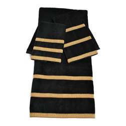 Sherry Kline - Sherry Kline Black Triple Row 3-piece Towel Set - These timeless towels are great addition to your bathroom d_cor. The three-piece Sherry Kline decorative towels set feature a cotton bath, hand, and fingertip towel, each embellished black and gold stripes.