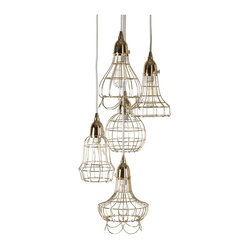 Gold Wire 5-Pendant Lamp