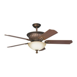 """DECORATIVE FANS - DECORATIVE FANS Larissa 52"""" Transitional Ceiling Fan X-GZT210003 - From the Larissa Collection, this Kichler Lighting ceiling fan features a warm citrine glass shade paired with a Tannery Bronze finish with gold accenting to highlight all the finer details. The look is completed with reversible walnut and cherry fan blades."""