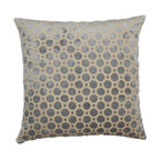 Gray geometric cut velvet decorative pillow cover - One decorative pillow cover made to fit a size 18x18 insert. Soft gray geometric velvet fabric aligned on both the front and back with a concealed zipper closure. Pillow insert not included.
