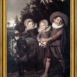 """Frans Hals-16""""x24"""" Framed Canvas - 16"""" x 24"""" Frans Hals Three Children with a Goat Cart framed premium canvas print reproduced to meet museum quality standards. Our museum quality canvas prints are produced using high-precision print technology for a more accurate reproduction printed on high quality canvas with fade-resistant, archival inks. Our progressive business model allows us to offer works of art to you at the best wholesale pricing, significantly less than art gallery prices, affordable to all. This artwork is hand stretched onto wooden stretcher bars, then mounted into our 3"""" wide gold finish frame with black panel by one of our expert framers. Our framed canvas print comes with hardware, ready to hang on your wall.  We present a comprehensive collection of exceptional canvas art reproductions by Frans Hals."""
