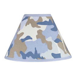 Sweet Jojo Designs - Camouflage Blue Lamp Shade - Camouflage Blue Lamp Shade by Sweet Jojo Designs is a beautifully designed childrens lamp shade that is made to fit small desk-sized lamp bases (base not included).  The lampshade attaches securely on the lamp's light bulb socket and the light bulb is twisted in through the opening at the top.