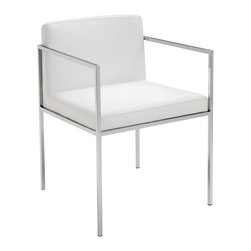 Nuevo Living - Paolo Dining Armchair, White, Set of 2 - Sleek and sharp lines make these chairs perfect for the modern home. Your choice of black or white Italian leather will provide a stylish contrast to the metal base. Pair them with a sophisticated dining table or frame your sofa. Either way, you'll be siting pretty.
