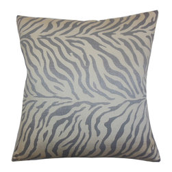 "The Pillow Collection - Helaine Zebra Print Pillow Slate - Create a gorgeous look to your home with this lovely accent pillow. This square pillow features a zebra print in shades of gray and silver. Constructed with high-quality and plush material, this 18"" pillow can last for a long time. Made in the USA, this toss pillow is perfect for your sofa, bed or seat."