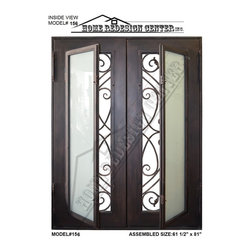 New wrought iron doors, model@156 - Pre-hung, Wrought iron double entry doors In Dark Bronze, Includes Dual-Pan Tempered Operable Glasses, Pre-bored, Metal Threshold.