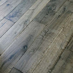 Manoir Gray Custom Aged French Oak Floors - The fantastic aged gray on this oak flooring is really lovely. Going for that calm, timeless french country look?  This would be a good choice for flooring.