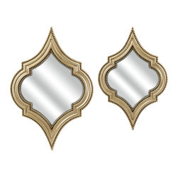 Imax Corp - Marietta Wall Mirrors - Set of 2 - The champagne finish and interesting shape of this set of two Marietta wall mirrors adds modern sophistication to any room.