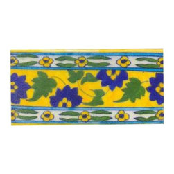 "Knobco - Tiles 3X6""Inch, Blue Flower And Green Leaves With Yellow - Blue flower and green leaves with yellow tile from Jaipur, India. Unique, hand painted tiles for your kitchen or other tiling project. Tile is 3x6"" in size."