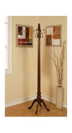 "Coaster - ""Coaster Coat Rack, Antique Brass"" - ""Wood coat rack with fluting down the center. Features large antique brass hooks.Dimensions (W x L x H): 19.00"""" x 19.00"""" x 72.25""""Finish/Color: Antique BrassAssembly Required: NoMade in China"""
