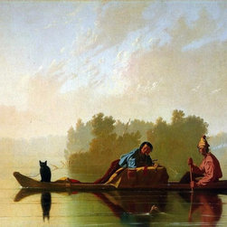 """George Caleb Bingham Fur Traders Descending the Missouri   Print - 16"""" x 20"""" George Caleb Bingham Fur Traders Descending the Missouri premium archival print reproduced to meet museum quality standards. Our museum quality archival prints are produced using high-precision print technology for a more accurate reproduction printed on high quality, heavyweight matte presentation paper with fade-resistant, archival inks. Our progressive business model allows us to offer works of art to you at the best wholesale pricing, significantly less than art gallery prices, affordable to all. This line of artwork is produced with extra white border space (if you choose to have it framed, for your framer to work with to frame properly or utilize a larger mat and/or frame).  We present a comprehensive collection of exceptional art reproductions byGeorge Caleb Bingham."""