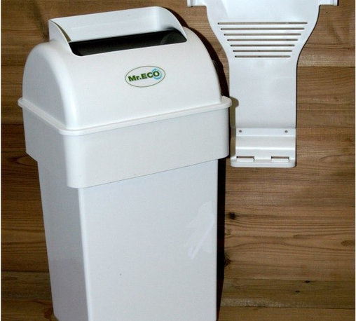 """Exaco - Mr. ECO Kitchen Composter Multicolor - MR. ECO - Shop for Garden Equipment from Hayneedle.com! Additional featuresTumbler hides all previously collected wasteIdeal for collecting compostable materials100% Canadian pro-compost trash can100% recyclableIdeal for storing scraps before taking them to the compost pileOdorless and out of the way thanks to wall mountingEliminates the presence of insectsCould also be used for diapers or cat litter (but don't add these wastes to your compost pile)Includes 3 biodegradable bags (not necessary for use)Made in Canada2-year warranty The Mr. ECO Kitchen Composter is an excellent solution to save you a trip to the outdoor compost bin several times a day. After each meal simply put your kitchen scraps in the Mr. ECO Kitchen Composter and when its 10 liter capacity is reached you can empty into the compost pile. Adding items are easy and its innovative design that transfers compostable materials from one chamber to another ensures it's free of odors. Simply wrap your compostables in paper towels or newspaper and place them in the top bin. Turn the handle and this bin will flip transferring your scraps to the large bin area. Turn the handle again to """"close"""" and the odors are blocked inside. Not only is this composter made of recycled plastic but it's 100% recyclable as well."""